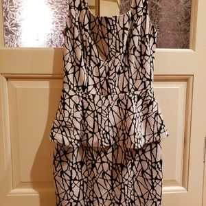 bar III Abstract Print Peplum Dress